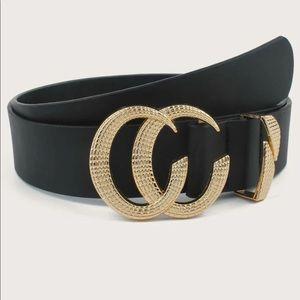 Accessories - Open loop circle c  gold buckle belt vegan leather
